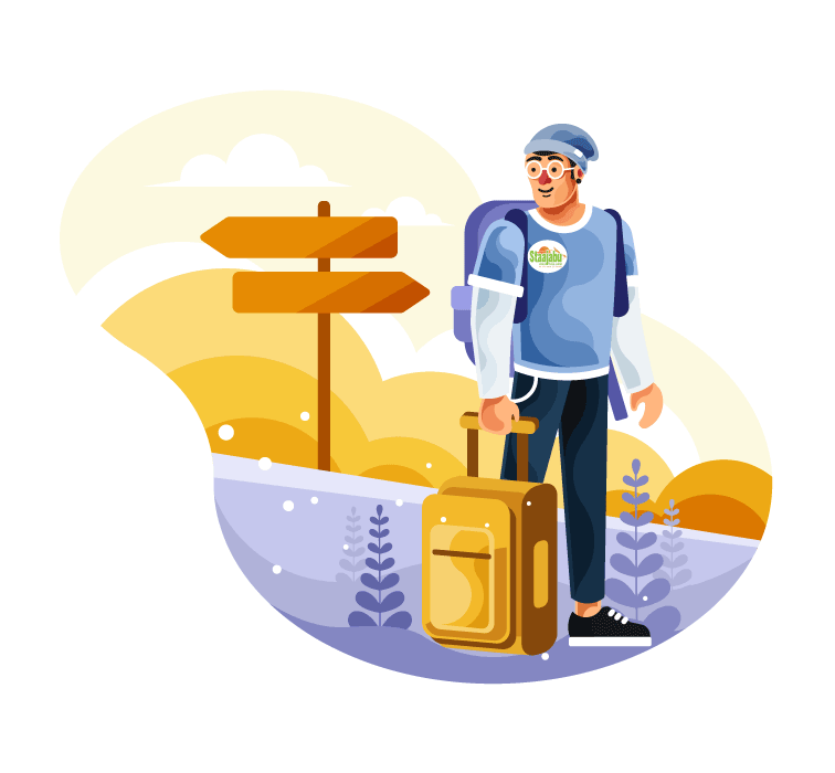 Vector art of traveling young man with suit case by Staajabu Travel