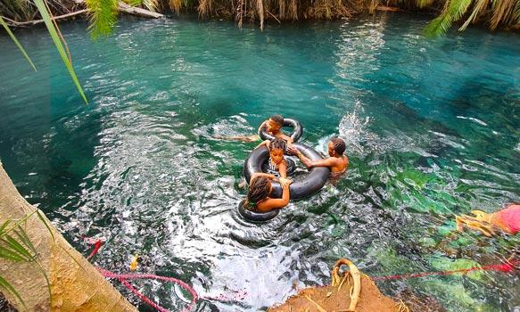 Swimming in turquoise Kikuletwa hotsprings