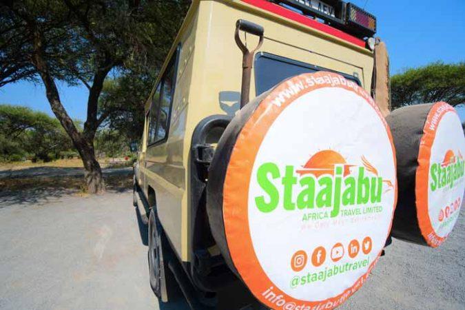 Rear view of Staajabu safari vehicle or jeep