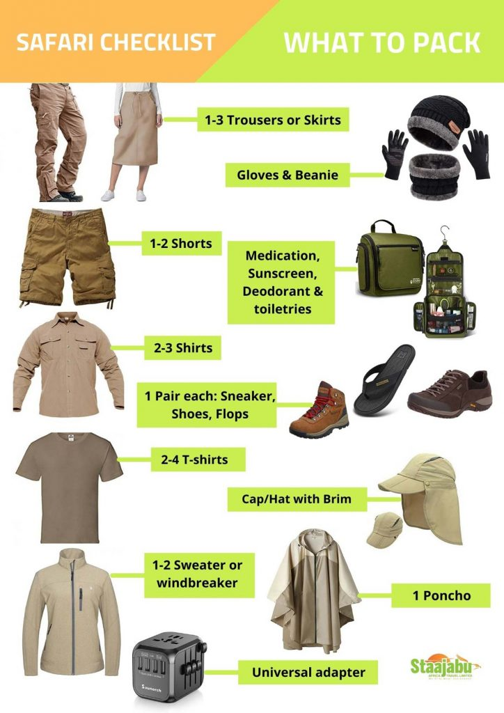 Checklist of what to pack before going on safari to Tanzania Africa