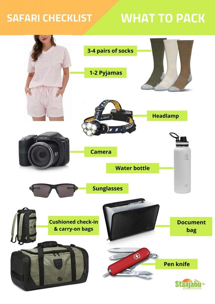 Checklist of what to pack in your bag before going on safari to Tanzania Africa