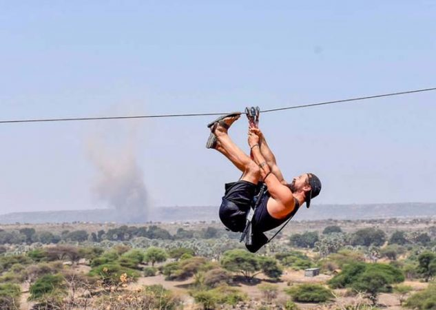 Man on adrenaline zipline at Mto wa Mbu Tanzip